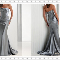 Silver Trumpet Mermaid Evening/Prom Dress, Evening Dress, Sweethert Satin Evening Dress, Sexy Evening Dress Prom, Wedding Party Dress