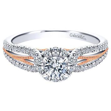 14K White Gold .66cttw Blush Split Shank Halo Diamond Engagement Ring
