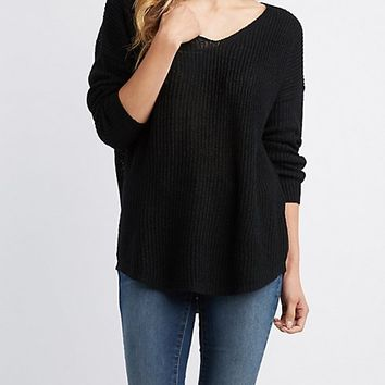Slub Knit V-Neck Sweater | Charlotte Russe