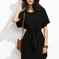Black Dolman Sleeve Self Tie Curved Hem Dress | MakeMeChic.COM