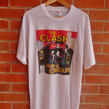 Rare Vintage THE CLASH This is England Mohawk Revenge British Punk T-Shirt Original
