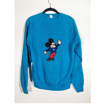 1990s Vintage Mickey Mouse Applique Sweatshirt Jumper- Unisex