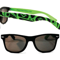 Sunglasses with Green and Black Frog Design by Fraser Williams, Haida