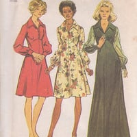 """1970s vintage """"Look Slimmer"""" flared skirt dress pattern misses size 14 Simplicity 5968 CUT and COMPLETE"""