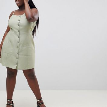 ASOS DESIGN Curve Button Through Linen Mini Sundress at asos.com
