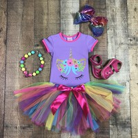 RTS Colorful Tutu Unicorn Birthday Outfit D23