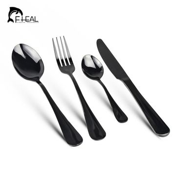 FHEAL 4pcs/set Stainless Steel Colorful Cutlery Set Rainbow Gold Plated Dinnerware Set Fork Knife for Wedding and Hotel
