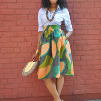Print Pleated Swing  Skirt