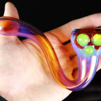 Space Fumed Amber Glass Sherlock Pipe, Heady Hand Blown with Slyme