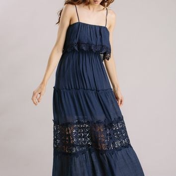 Angelina Navy Crochet Maxi Dress