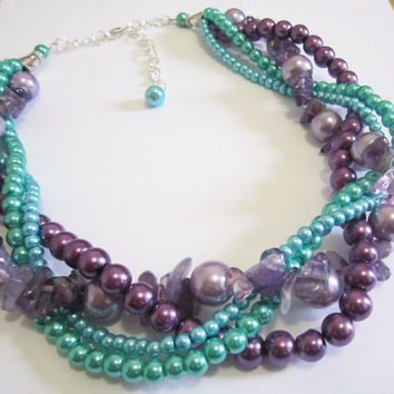 Peacock Necklace, Chunky Pearl Necklace, Twisted Braided Bridesmaid Necklace, Multistrand Necklace, Teal, Purple, Green