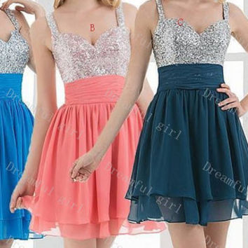 Spaghetti straps sequins chiffon short prom dress lace up back evening dress