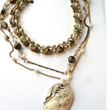 Cameo Pendant Necklace, Layer Necklace, Three Necklaces in One, Pearl Chain, Gold Necklace, Gift for Mother, OOAK