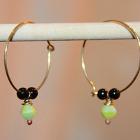 Black Onyx and Green Czech Beaded Hoop Earrings, Small Hoop Earrings, Green Hoop Earrings, Light Earrings, Gifts for Her