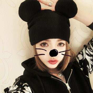 New women hat Soft Beanie Fashion Cat's Ears Women's Hat Knitted Caps Mickey ears knit wool cap