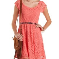 Tribal-Belted Crochet Skater Dress by Charlotte Russe