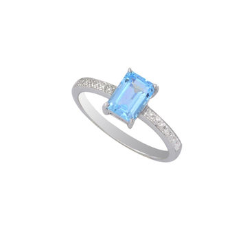 Sterling Silver .01ct Genuine Diamond Ring with 7x5mm Blue Topaz Rectangle Stone