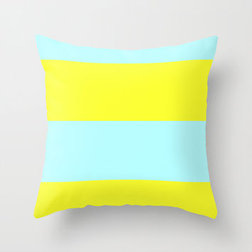 Outdoor Pillow Cover - Ice Blue and Yellow Stripes