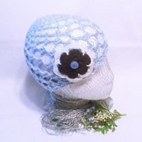 Blue crochet Hat Beanie hat Hand Crochet bridal hat flower applique Crocheted  Hats Spring Fashion Women Accessory Accessories Gift for her