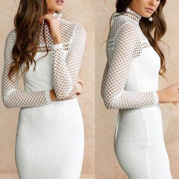 Streetstyle  Casual White Patchwork Cut Out Zipper Band Collar Bodycon Homecoming Party Mini Dress
