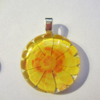 Bright Yellow Flower Glass Pendant