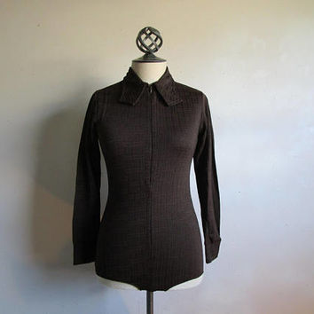 Vintage 70s Bodysuit Dark Brown Nylon Knit Drop Stitch Textured 1970s Stretch 1 pc Bodywear Large