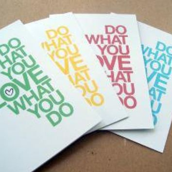 do what you love  set of 4 assorted cards by letterhappy on Etsy
