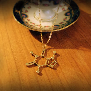 Caffeine necklace,Chemistry necklace,molecule necklace,geometrical Necklace,best friend gift,tea necklace,coffee,science,pendant jewelry