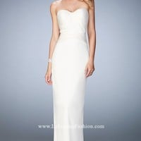 Strapless Lace Stretch Satin Gown by La Femme