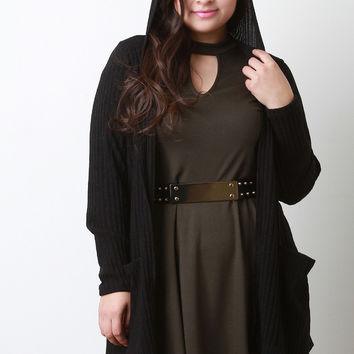 Hooded Ribbed Longline Cardigan