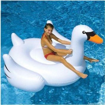 DCCKUH3 Inflatable Swimming Pool Float Summer Lake Swimming Lounge Pool Kid Giant Rideable White Inflatable Swan Design Toys Float Raft
