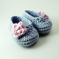 Rose Baby Booties - Blue And Pink  on Luulla