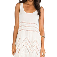 Free People Voile and Lace Trapeze Slip in Ivory