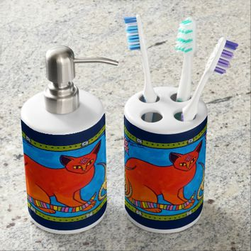 Indian Cat With Lilies Colorful Cat Design Soap Dispenser And Toothbrush Holder