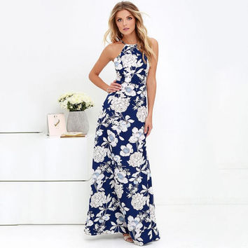 Womens Summer Maxi Dresses 2017 New Ladies Sleeveless Blue Halter Neck Floral Print Vintage Maxi Long Dress