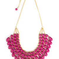 Malabar Beaded Necklace Fuchsia