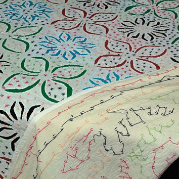 king size  handmade applique bedspread  multi colour  tribal applique / cutwork bedcover