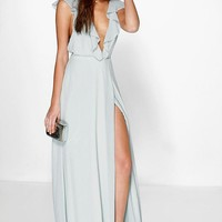 Daisy Frill Wrap Detail Chiffon Maxi Dress | Boohoo