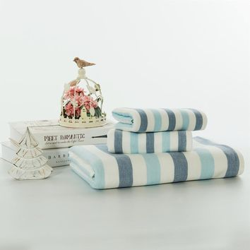 Adults, Large, Super Soft, Blue And White Stripes ,Beige And White Stripes or Pink And White Stripes 100% Cotton 3 Piece Hand Towel Set. A Great GIft Idea For Him OR her