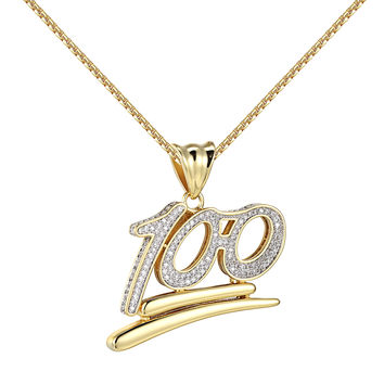 "100 Percent Emoji Pendant 14k Gold Tone Simulated Diamonds 24"" Chain Custom New"
