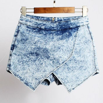 Light Blue Cross Laminated Denim Shorts