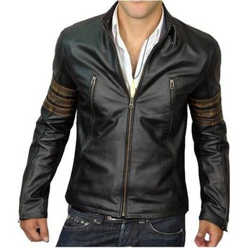Men Black XMen Style Leather Jacket