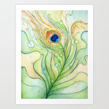 Peacock Feather Watercolor  Art Print by Olechka