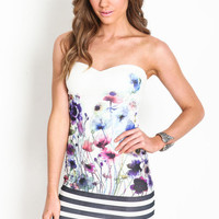 FLORAL STRIPED BODYCON DRESS
