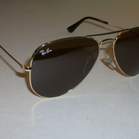 Cheap 58[]14mm RAY BAN RB3025 B15 BROWN LENS GOLDEN FRAMES AVIATOR SUNGLASSES w/CASE outlet
