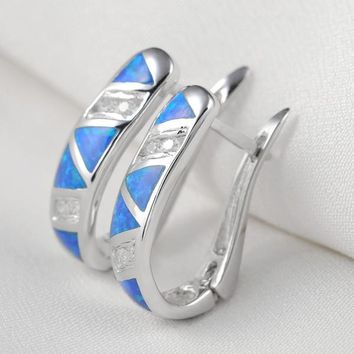 SHIP FROM USA Blue Triangle Opal CZ Solid 925 Sterling Silver Hoop Earrings Classic Jewelry For Women