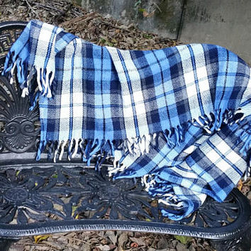 Faribo Blue Acrylic Plaid Stadium Blanket Afghan Throw Faribault Woolen Mill Co.