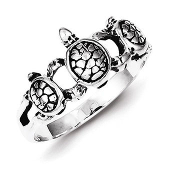 Sterling Silver Antiqued Turtle Ring