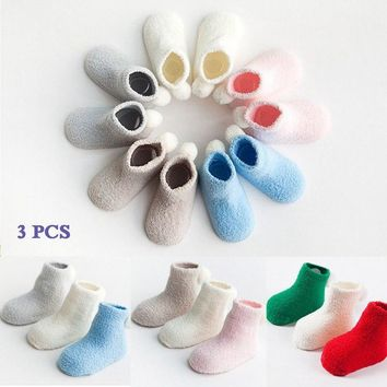 3Pairs Kid Winter Warm Soft Fluffy Christmas Sock Thick Coral Fleece Indoor Sock