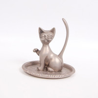 Vintage Cat Ring Holder Silver Plate Figural Kitty Long Tail Vanity Dish Small Oval Tray Art Deco Cat Paperweight Cat Lover